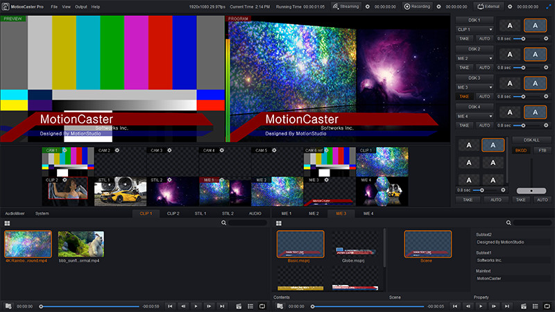 MotionCaster is a live streaming software.