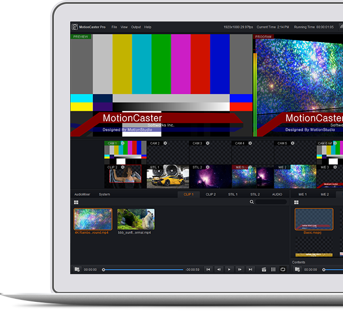 MotionCaster is a live streaming and broadcasting software that can easily handle complex tasks such as Switching, Character generator, Score Board, Virtual Studio and Streaming with only one operator.