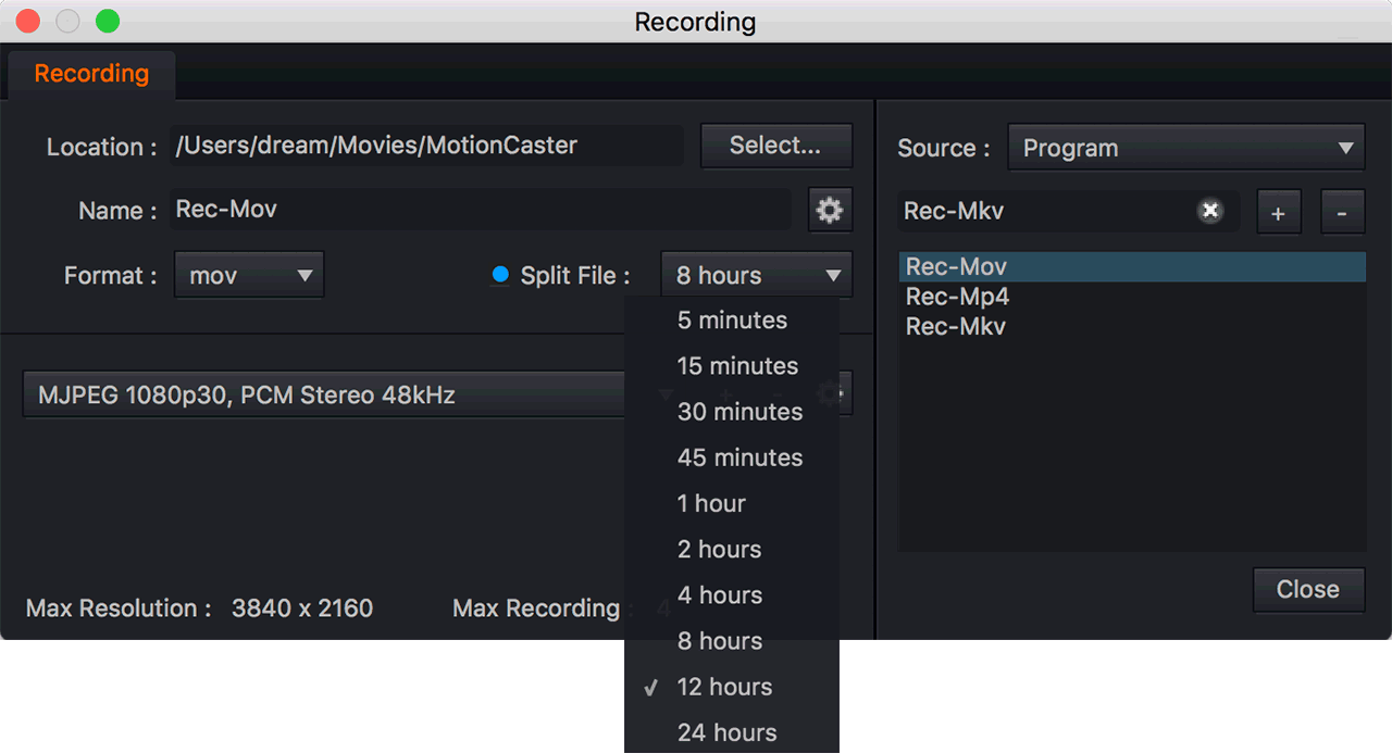 File split recording